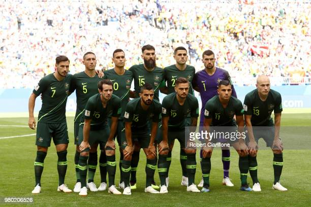 Australia team poses prior to the 2018 FIFA World Cup Russia group C match between Denmark and Australia at Samara Arena on June 21 2018 in Samara...