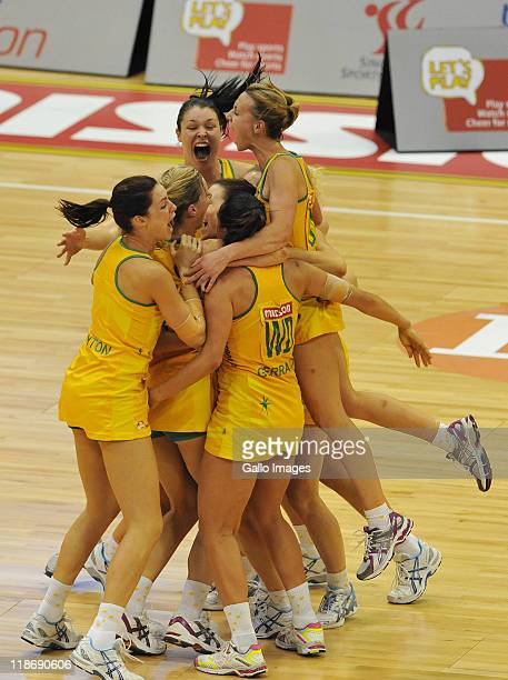 Australia team-mates celebrates their win at the close of the Mission Foods World Netball Championships Final match between Australia and New Zealand...