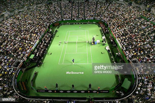 This general view shows Marat Safin of Russia playing against Lleyton Hewitt of Australia in their men's final match at the Rod Laver Arena at the...