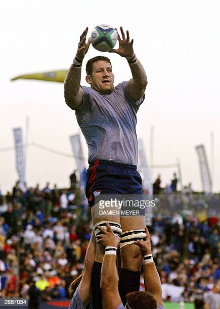 US lock Luke Gross grabs the ball in a line out during the Pool B Rugby World Cup match between France and United States at WIN Stadium in Wollongong...
