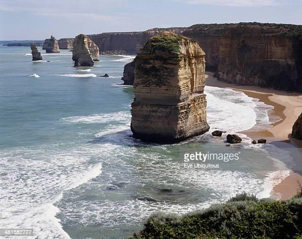 Australia Victoria Great Ocean Road The Twelve Apostles along the rocky coastline with sandy bays