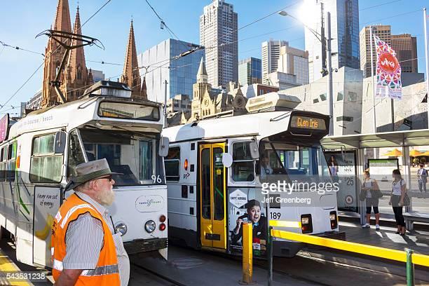 Australia Victoria Melbourne Central Business District CBD Federation Square St Kilda Road tram trolley public transportation city skyline...