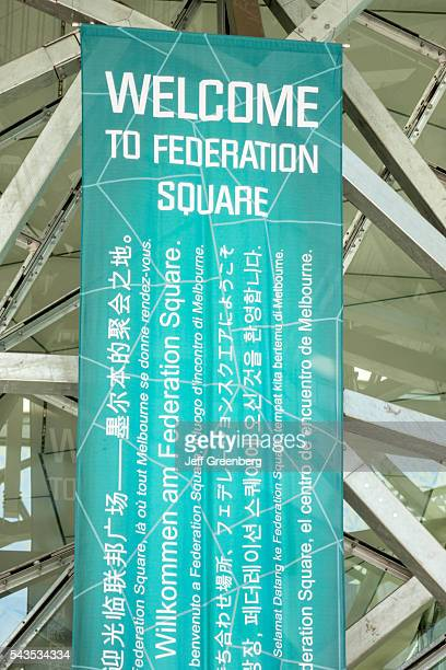 Australia Victoria Melbourne Central Business District CBD Federation Square Visitor Center banner welcome multi many languages