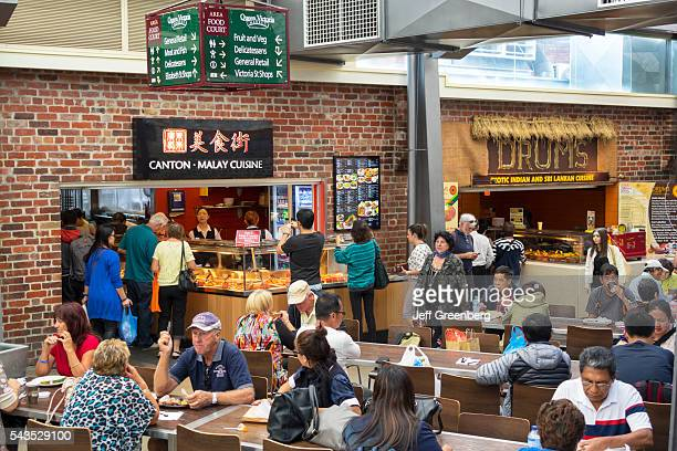 Australia Victoria Melbourne Central Business District CBD Queen Victoria Market food court restaurant tables CantonMalay