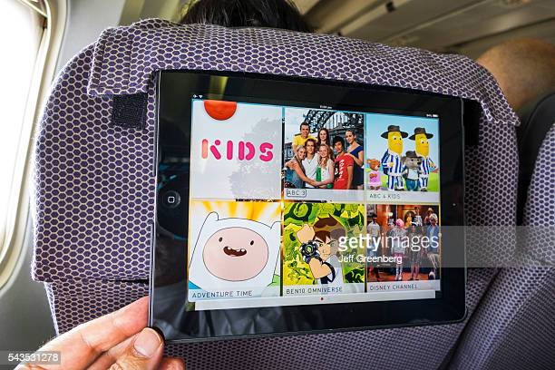 Australia Victoria Melbourne Tullamarine Airport MEL Qantas Airlines onboard airliner commercial seat iPad inflight kids entertainment cartoons...
