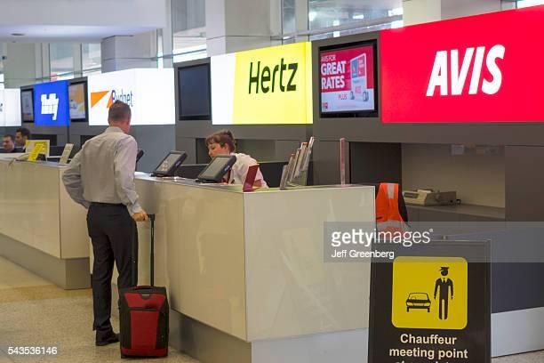 Australia Victoria Melbourne Tullamarine International Airport MEL concourse terminal rental car competing businesses counter counters Avis Hertz...