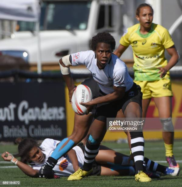 Australia vs Fiji in HSBC Canada Women's Sevens Rugby action at Westhills Stadium in Langford BC May 27 2017 Australia and Fiji tied at 24 all / AFP...