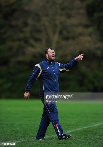 Australia Wallabies head coach Michael Cheika looks on during a Wallabies training session at Treforest on November 4 2014 in Cardiff Wales