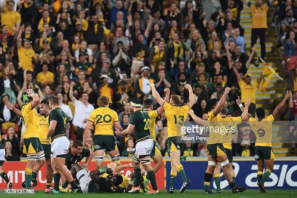 Australia Wallabies players celebrate their victory during The Rugby Championship match between the Australian Wallabies and the South Africa...