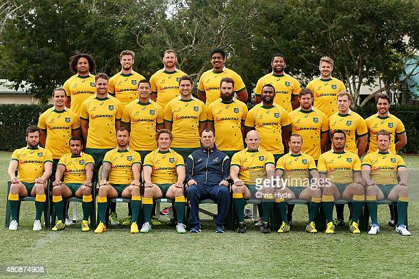 Australia Wallabies pose for a team photograph at Ballymore Stadium on July 16 2015 in Brisbane Australia