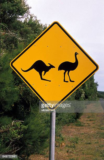 AUS Australia Wilsons Promontery National Park warning sign to kangaroos and emus