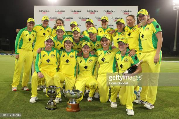 Australia win the match and series during game three of the One Day International series between the New Zealand White Ferns and Australia at Bay...