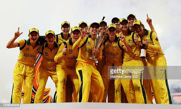 Australia women celebrate winning the ICC Women's World Twenty20 2012 Final between England and Australia at R Premadasa Stadium on October 7 2012 in...