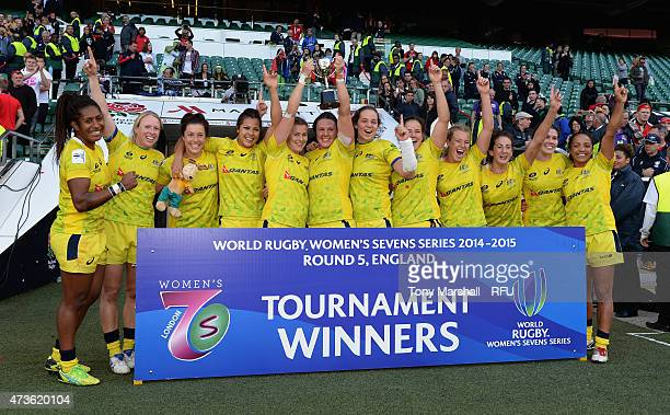 Australia Women celebrate with the trophy after winning the Marriott London Sevens Women's Final match between Canada and Australia on Day One of the...