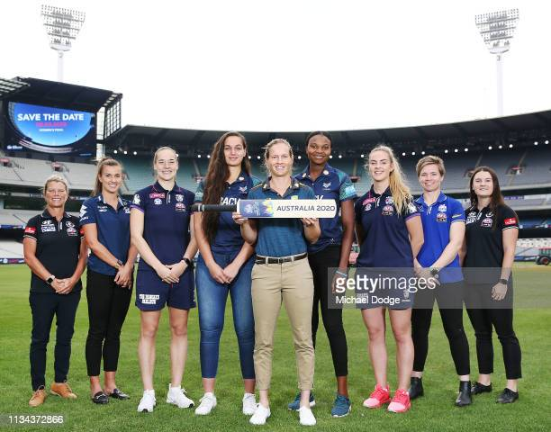Australia women's captain Meg Lanning poses with athletes from different codes LR Carlton AFLW General manager and former player Nicole Graves...