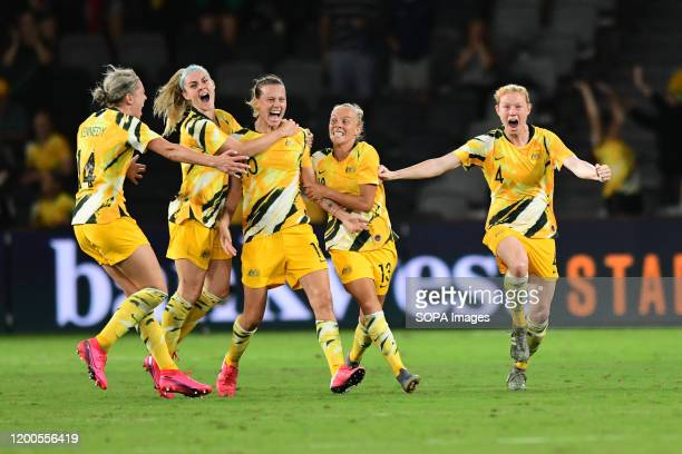 Australia Women's team celebrate after scoring a goal during the 2020 AFC Women's Olympic Qualifying Tournament match between Australia and China at...