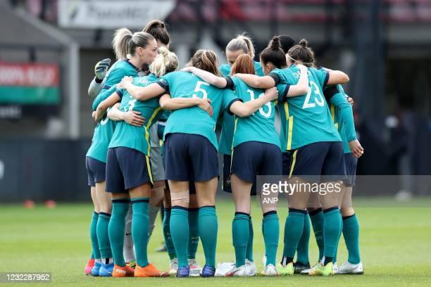 Australia women's team during the international women's friendly match between the Netherlands and Australia at the Goffert Stadium on April 13, 2021...
