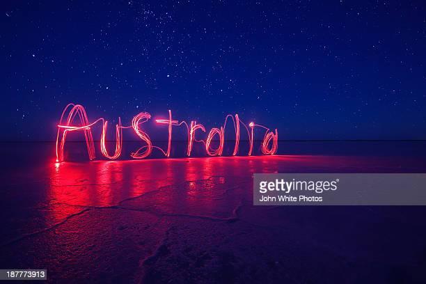 Australia written by light painting. Australia.