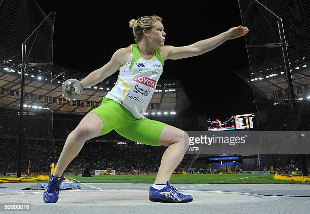 Australia'a Dani Samuels competes to win the women's discus throw final of the 2009 IAAF Athletics World Championships on August 21 2009 in Berlin...