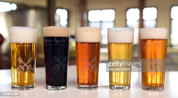 AustraliaLifestylebeer FEATURE by Madeleine Coorey A photo taken on September 3 shows glasses filled with different types of James Squire beer at the...