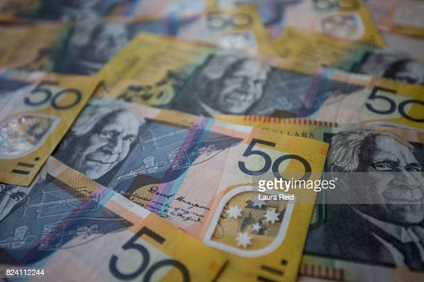 australian $50 notes - banknote stock pictures, royalty-free photos & images