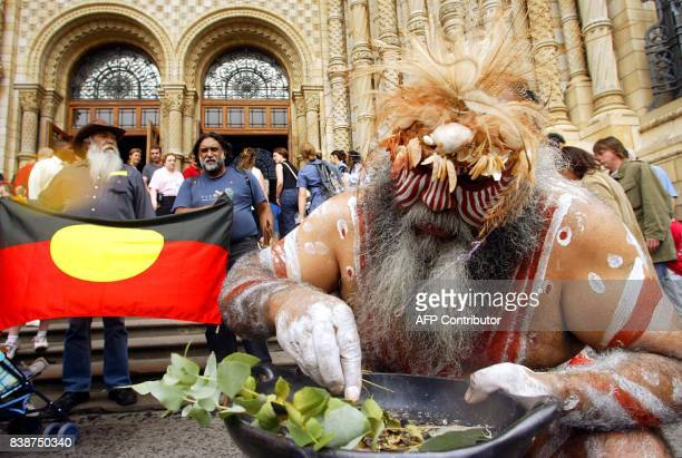 Australian Aborigine Major Sumner from the Ngarrindjeri tribe performs the Smoking ceremony outside the British Natural History museum in London 31...