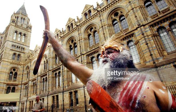 Australian Aborigine Major Sumner from the Ngarrindjeri tribe protests outside the British Natural History museum in London 31 July 2003 Sumner...