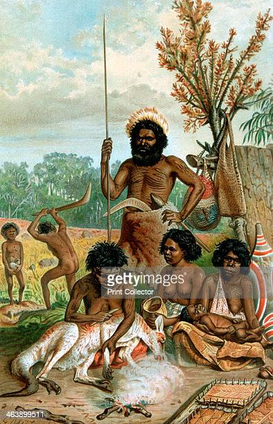 Australian aborigines butchering a kangaroo 18851888 A family of New South Wales natives butchering the spoils of their hunting expedition...
