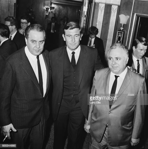 Australian actor and former fashion model George Lazenby who is the new 'James Bond' American film producer Albert R Broccoi and Canadian producer...