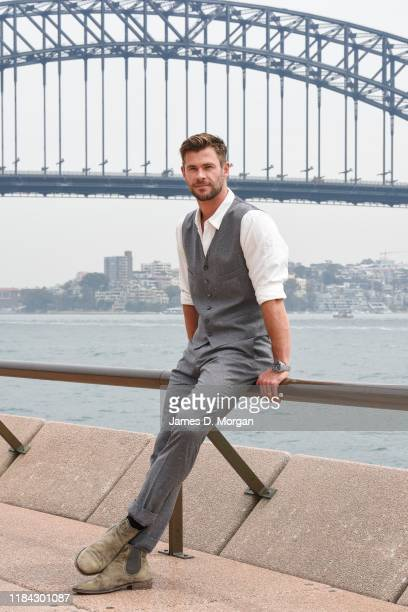 Australian actor and Global Ambassador for Tourism Australia Chris Hemsworth sits beside Sydney Harbour with the backdrop of the Sydney Harbour...