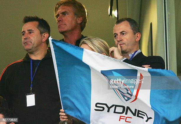 Australian actor and share holder of Australian soccer club Sydney FC Anthony LaPaglia watches on during the Sydney FC and Queensland Roar match...