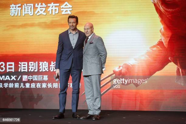 Australian actor and singer Hugh Jackman English actor Patrick Stewart attend the premiere of American director James Mangold's film 'Logan' on March...