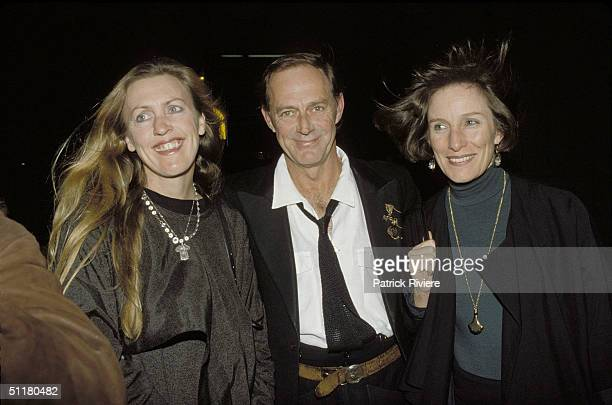 Australian actor Barry Otto with wife Lindsay and friend in Sydney