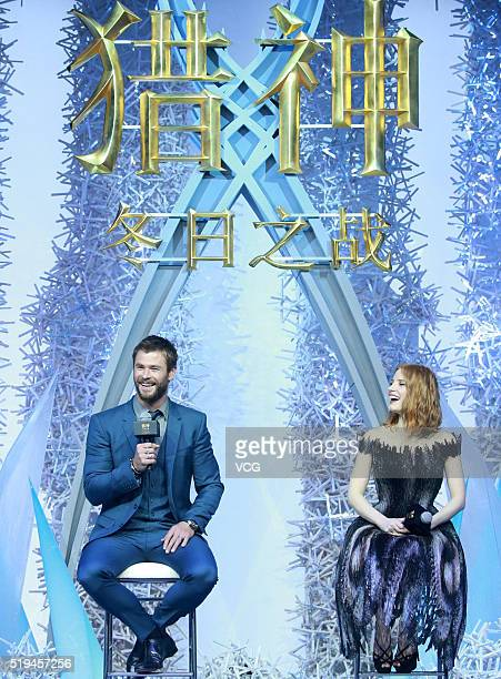 Australian actor Chris Hemsworth and American actress Jessica Chastain attend the press conference of French director Cedric NicolasTroyan's film The...