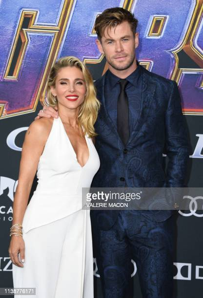 Australian actor Chris Hemsworth and his wife Spanish actress Elsa Pataky arrive for the World premiere of Marvel Studios' Avengers Endgame at the...