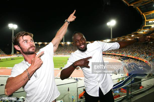 Australian actor Chris Hemsworth and retired Jamaican sprinter Usain Bolt pose for a photo at the athletics on day eight of the 2018 Gold Coast...
