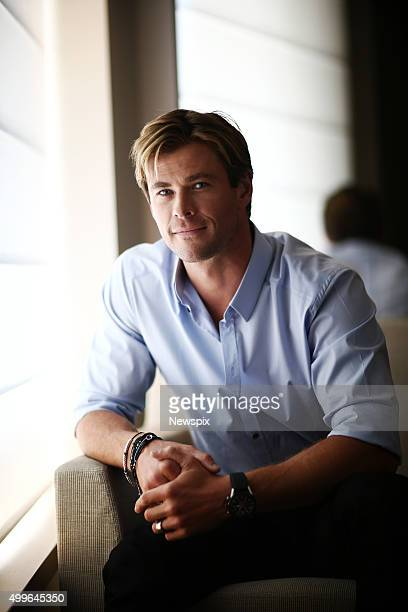 Australian actor Chris Hemsworth poses during a photo shoot in Sydney New South Wales to promote his new movie 'In the Heart of the Sea'