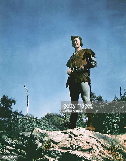 Australian actor Errol Flynn on the set of The Adventures of Robin Hood directed by Michael Curtiz and William Keighley