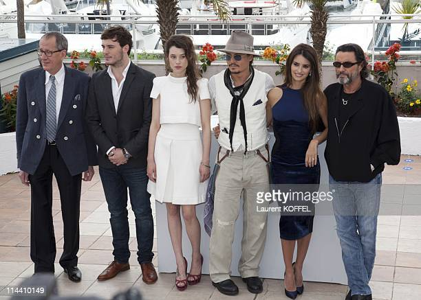 Australian actor Geoffrey Rush British actor Sam Claflin French actress AstridBerges Frisbey US actor Johnny Depp Spanish actress Penelope Cruz and...