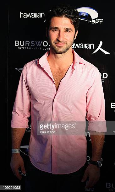 Australian actor George Houvardas poses during a Heath Ledger tribute outdoor movie night at Burswood Park on February 12 2011 in Perth Australia...
