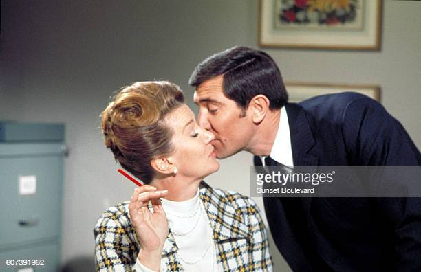 Australian actor George Lazenby and Canadian actress Lois Maxwell on the set of On Her Majesty's Secret Service, directed by British Peter R. Hunt.
