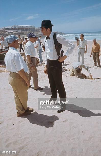 Australian actor George Lazenby films a scene for the James Bond movie 'On Her Majesty's Secret Service' on location on the Praia do Guincho near...