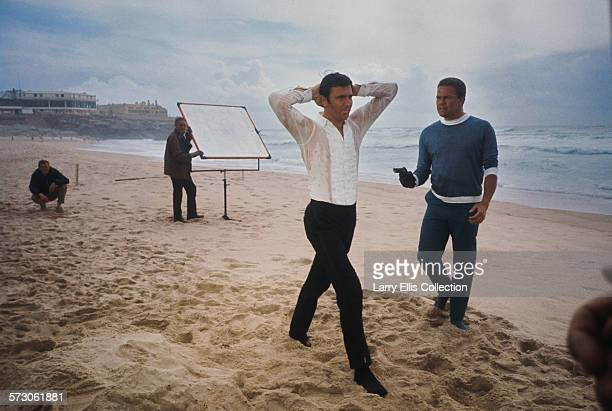 Australian actor George Lazenby films a scene for the James Bond movie 'On Her Majesty's Secret Service' on location on the Praia do Guincho near...