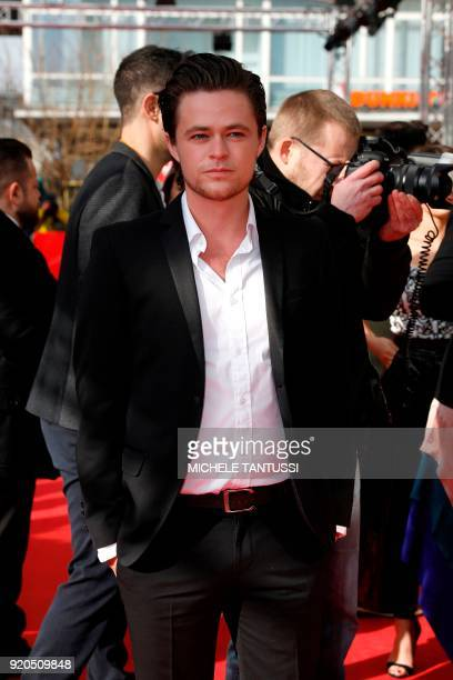 Australian actor Harrison Gilbertson poses on the red carpet upon arrival for the premiere of the series 'Picnic at Hanging Rock' presented in the...