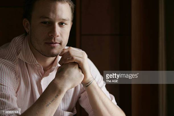 Australian actor Heath Ledger at a hotel media interview for his upcoming film 'Brokeback Mountain' which is premiering in Melbourne 10 January 2006