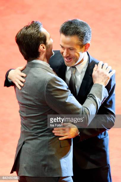 Australian actor Hugh Jackman and director James Mangold attend the 'Logan' premiere during the 67th Berlinale International Film Festival Berlin at...
