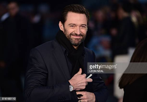 Australian actor Hugh Jackman arrives for the European premiere of Eddie The Eagle in London on March 17 2016 / AFP / LEON NEAL