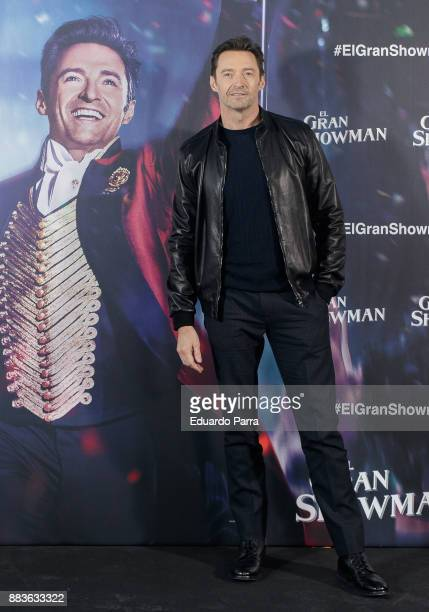 Australian actor Hugh Jackman attends the 'The Greatest Showman' photocall at Villamagna hotel on December 1 2017 in Madrid Spain