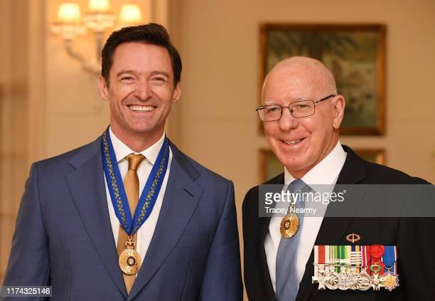Australian actor Hugh Jackman is awarded an Order of Australia by The Governor-General of Australia David Hurley at Government House on September 13,...