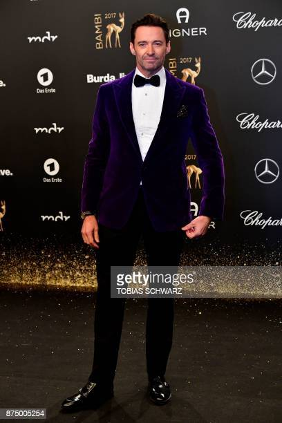 Australian actor Hugh Jackman poses upon his arrival for the 2017 BAMBI awards ceremony on November 16 2017 at the Stage Theatre on Potsdamer Platz...